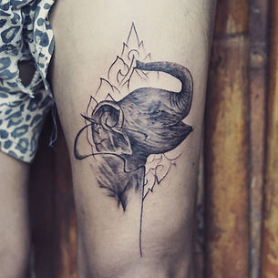 Best realistic baby elephant tattoo at Baan Khagee Tattoo Chiang Mai