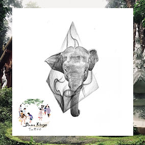 Baby elephant with geometric design available at Baan Khagee Tattoo Chiang Mai