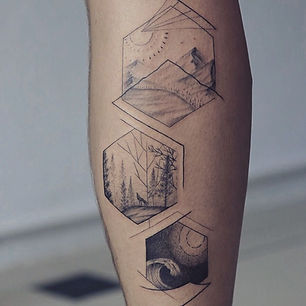 Best fine line geometric nature tattoo in hexagons at Baan Khagee Tattoo Chiang Mai