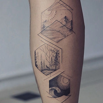 Best Fine linework nature tattoo in hexagons by Nate, a tattoo artist in Chiang Mai