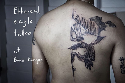 Best Blackwork abstract eagle tattoo by a tattoo artist in Chiang Mai, Thailand