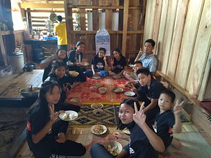 Learning and having lunch at P'Oshi's house