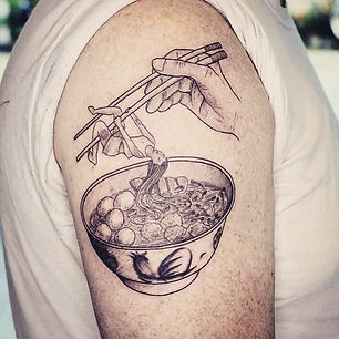 Best fine line noddle tattoo at Baan Khagee Tattoo Chiang Mai