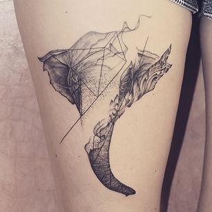 Best Elephant tattoo with geometric fine lines and Thai art at Baan Khagee Tattoo Chiang Mai, Thailand