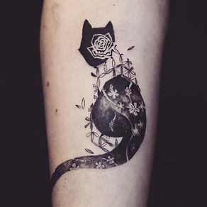 Minimal black cat with flowers pattern at Baan Khagee Tattoo Chiang Mai
