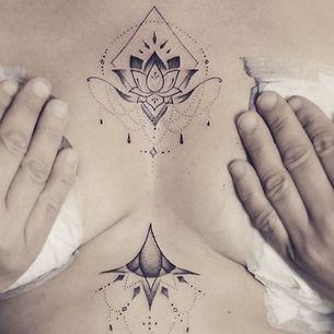 Best Geometric ornamental lotus tattoo at Baan Khagee Tattoo Chiang Mai, Thailand
