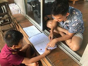 Teaching homework to the kid