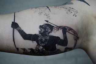 Best Blckwork Thai Hanuman tattoo by a blackwork tattoo artist in Chiang Mai, Thailand