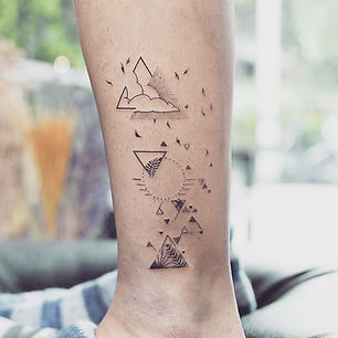 Best fine line geometric nature tattoo at Baan Khagee Tattoo Chiang Mai