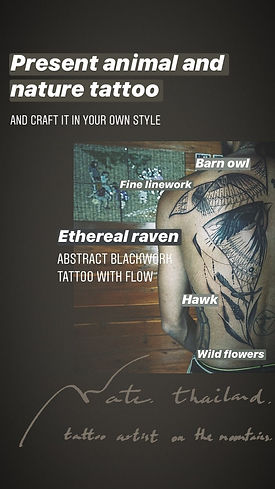 Tattoo artist's style on the mountains at Baan Khagee Tattoo Chiang Mai
