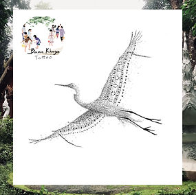 Dotwork crane design available at Baan Khagee Tattoo Chiang Mai