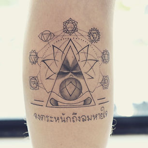 Best fine line meditation tattoo at Baan Khagee Tattoo Chiang Mai
