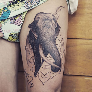 Best realistic elephant tattoo with Thai giant linework at Baan Khagee Tattoo Chiang Mai