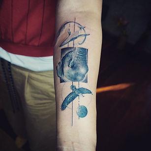 Best Blue animals tattoo with geometric fine lines at Baan Khagee Tattoo Chiang Mai, Thailand