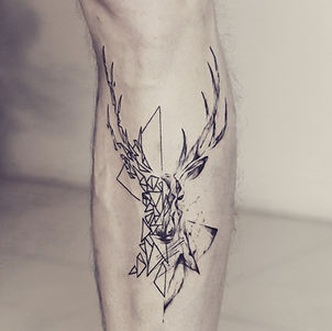Best half geometric half abstract deer tattoo at Baan Khagee Tattoo Chiang Mai, Thailand