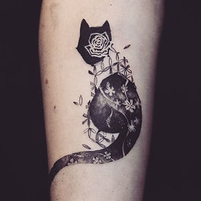 Best minimal blackcat tattoo with patter