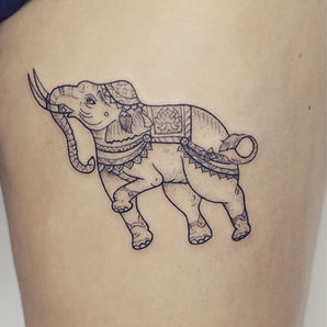 Best line work Thai elephant tattoo by a tattoo artist in Chiang Mai, Thailand