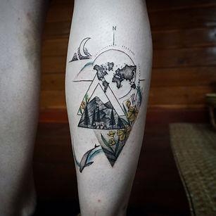 Best Geometric fine line nature tattoo with travel theme at Baan Khagee Tattoo Chiang Mai, Thailand