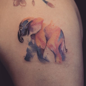 Watercolor elephant tattoo at Baan Khagee Tattoo Chiang Mai