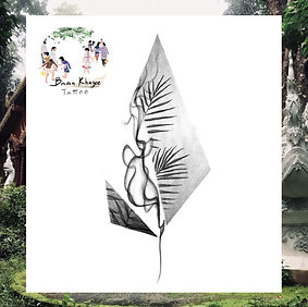 Plant with geometric and flow design available at Baan Khagee Tattoo Chiang Mai
