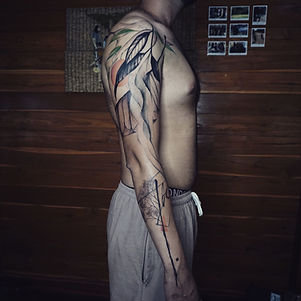 Best Abstract nature full sleeve tattoo at Baan Khagee Tattoo Chiang Mai, Thailand