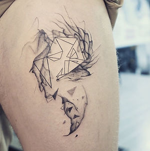 Best abstract blackwork geometric fox tattoo at Baan Khagee Tattoo Chiang Mai, Thailand