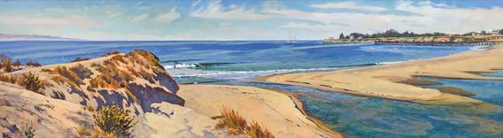 SANTA CRUZ Kawananakoa Brothers - San Lorenzo Rivermouth 1885 - Oil painting on canvas by John Comer