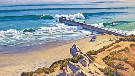 CORONA del MAR -KOOKBOX & PLANKBOARDS 1934 - Oil painting on canvas by John Comer