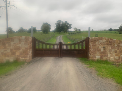 Lysterfield double gate in rust effect finish - fitted
