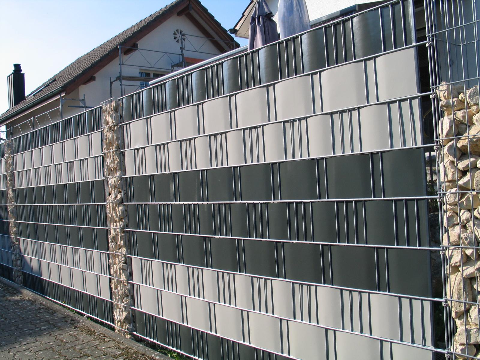 Sichtschutzzaun - Gabionensäulen und