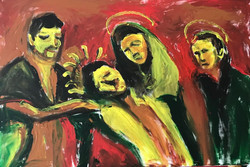One flame Jesus with LOVE 90x 70 2019
