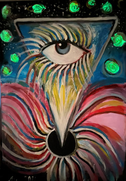 «The Cosmic Eye», 2020 oil on canvas and neon color  Height/Width/Depth : 120 x 80 x 2 cm
