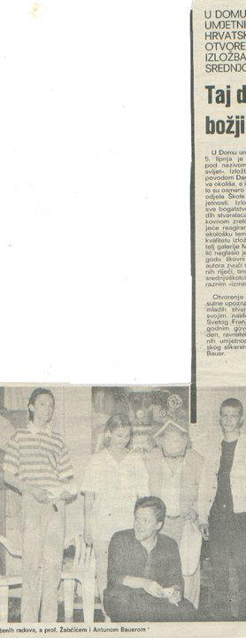 """1992. The exhibition of the best pupils of school of Art in Zagreb. It was held at """"Dom umjetnika Hrvatske"""" Croatia"""