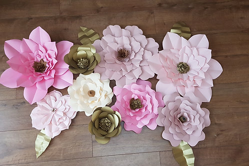 Large wall flowers - Set of 9