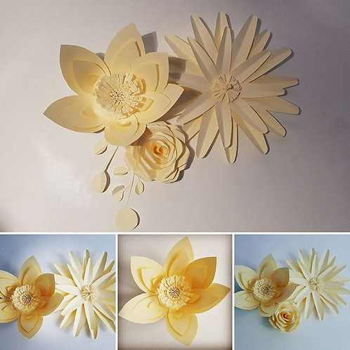 Large wall flowers - Set of 3