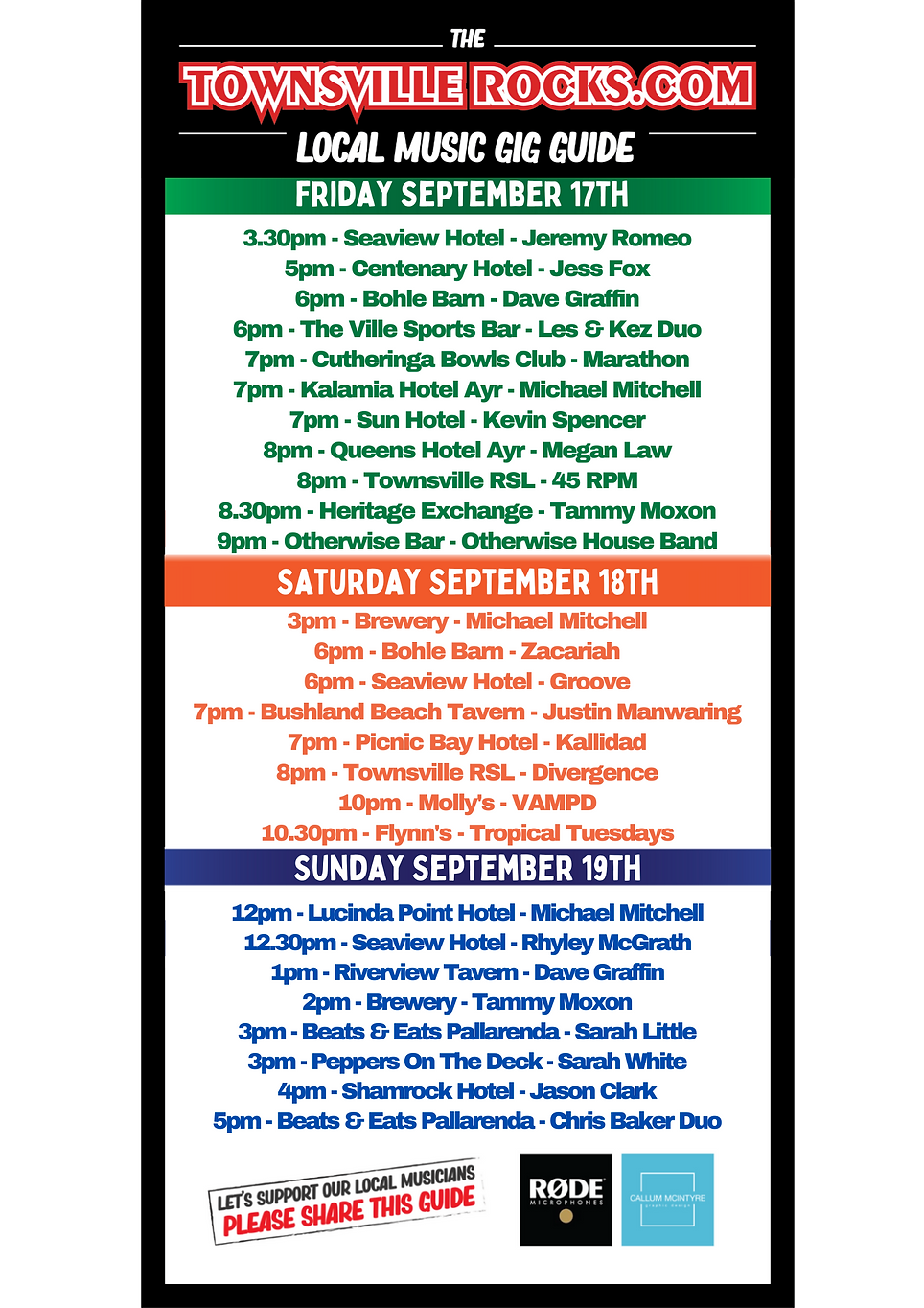 Townsville Radio Station, Live Music Gig Guide 17th September 2021.png