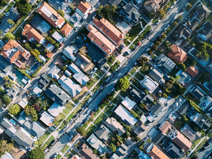 Vista aérea de um Houses
