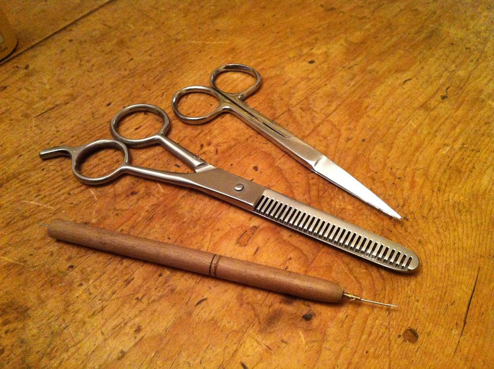 Hair Punching Needle + Scissors