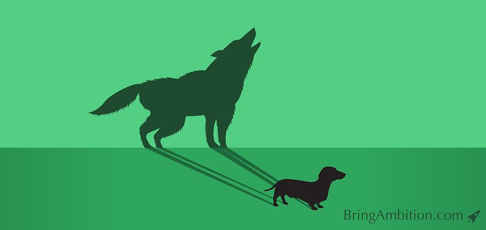 wishful thinking dog wolf dachshund