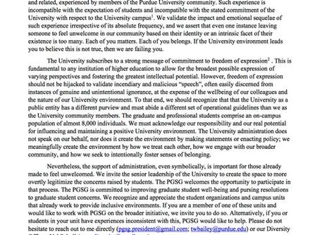 PGSG President Statement Regarding Campus Climate