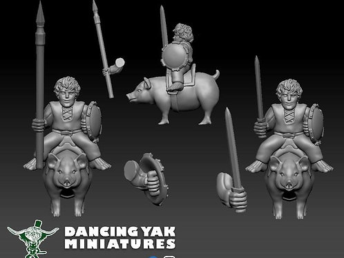 STL 28mm halfling Hog Riders with pose able arms