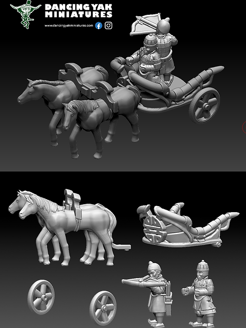 STL undead Terracotta chariot 10-28mm based & unbased versions