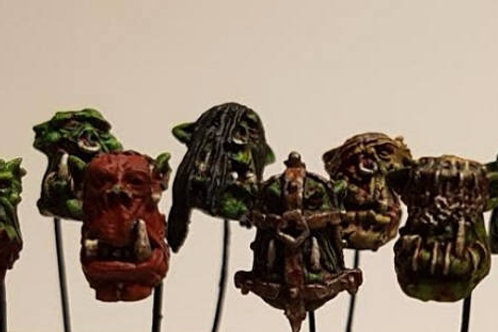12 Slave Orc Heads of Ancient Times 28mm conversion kit Admiralty Miniatures