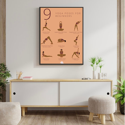 9 Yoga Poses For Beginners - Poster
