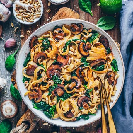 Vegan Mushrooms Pasta with Spinach