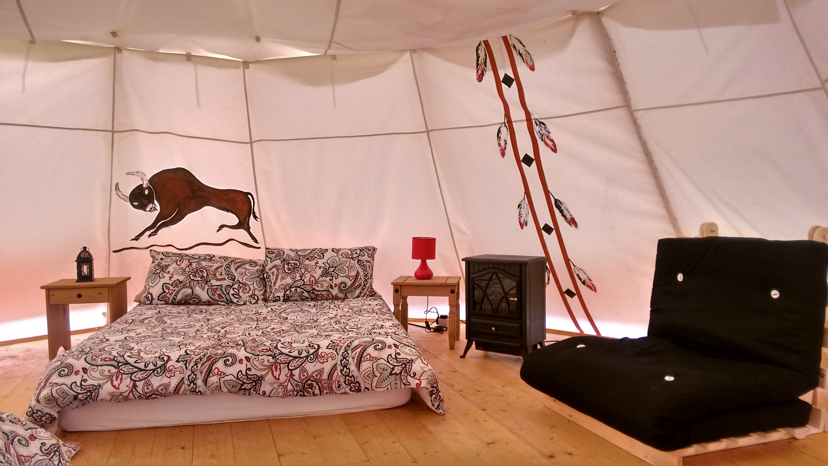 Interior of our Indian Tipi