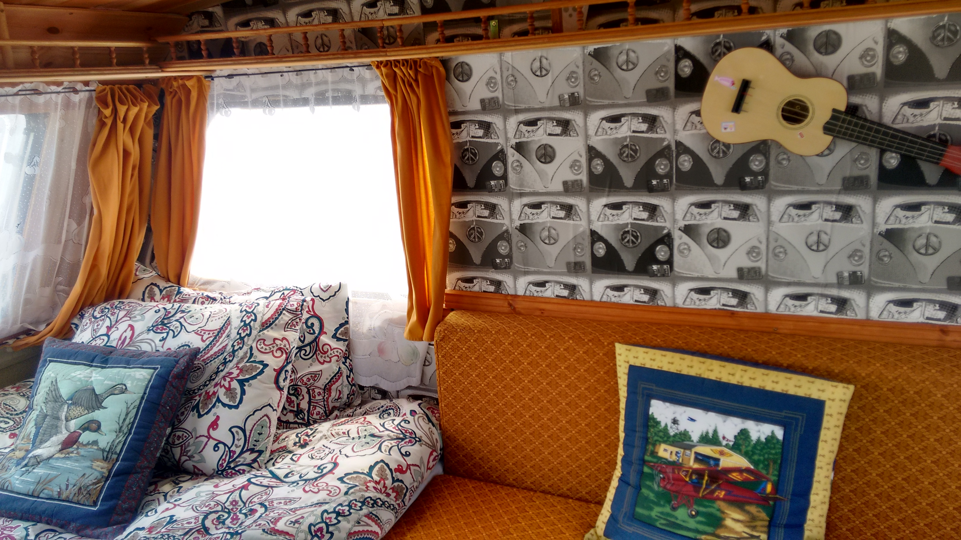 Interior of our mini Fr Ted Caravan