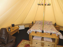 Interior of our luxurious bell tents