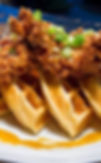 Waffles and fried chicken wit pure maple syrup