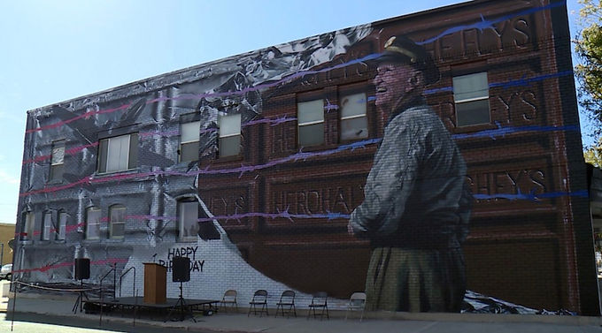 "A True Hometown Hero, ""The Candy Bomber"" Turns 100, Mural Made in His Honor In Tremonton, Utah"